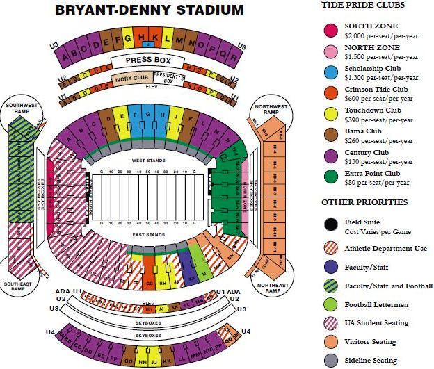 Bryant Denny Stadium Map alabama football fields & Alabama stadiums maps, crimson tide